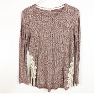 Rewind Maroon & Cream Soft Knit Sweater Sz M